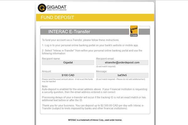 Interac e-transfer casino transaction screen