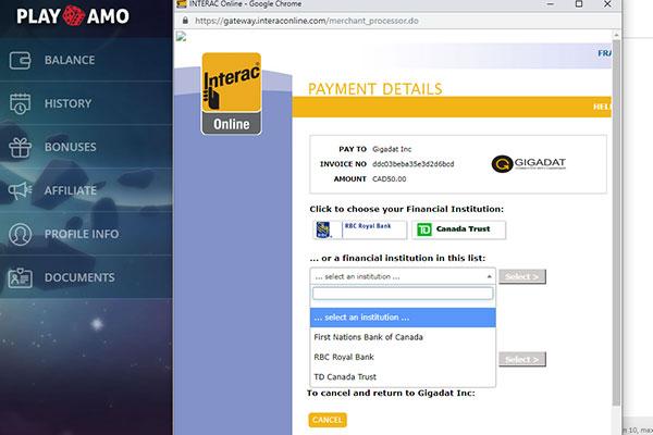 Playamo casino deposit screen with e-transfer
