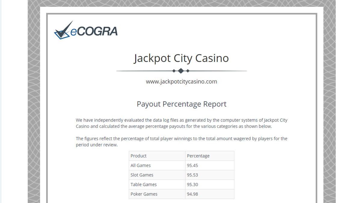 eCOGRA payout percentage report Jackpot City