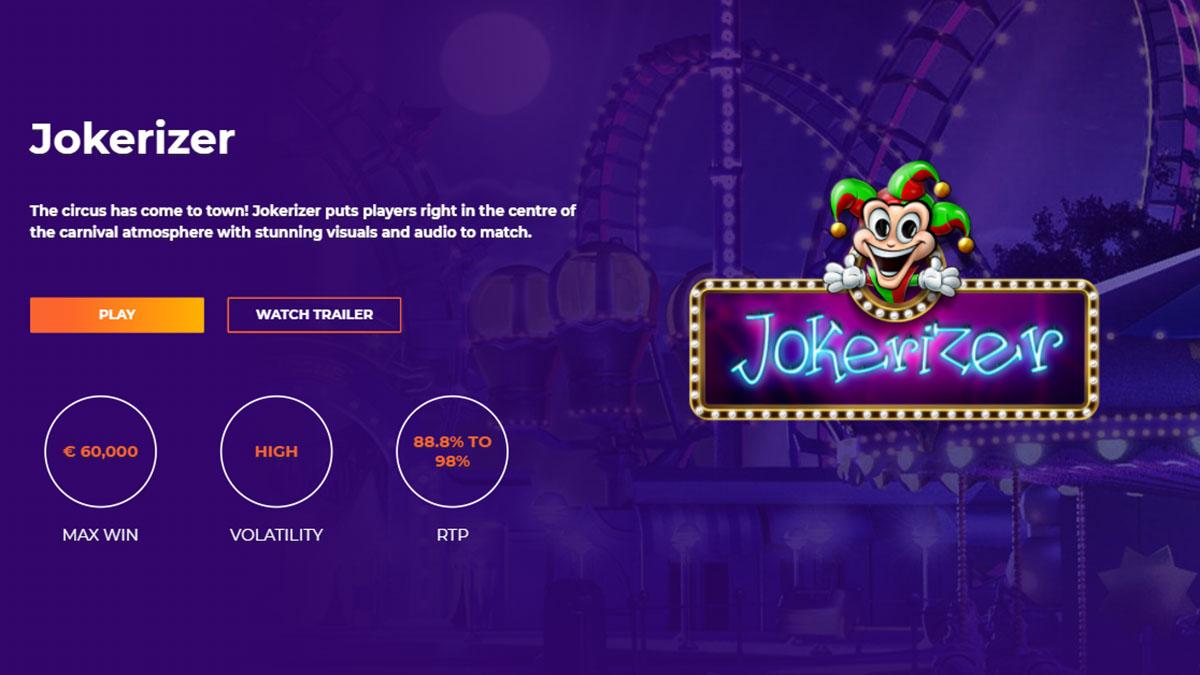 Jokerizer slot game with payout