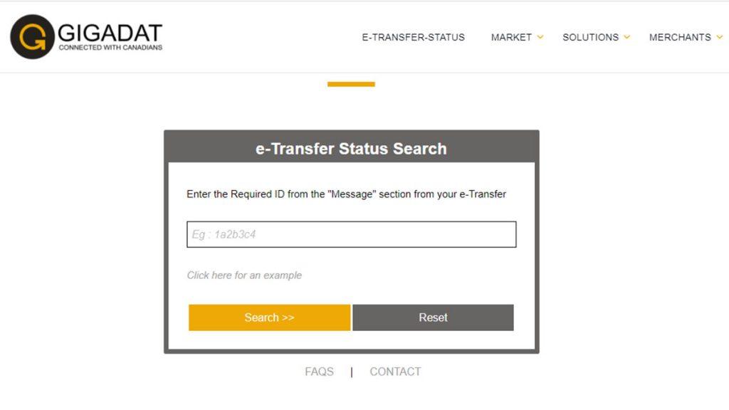 Gigadat e-transfer status search screen
