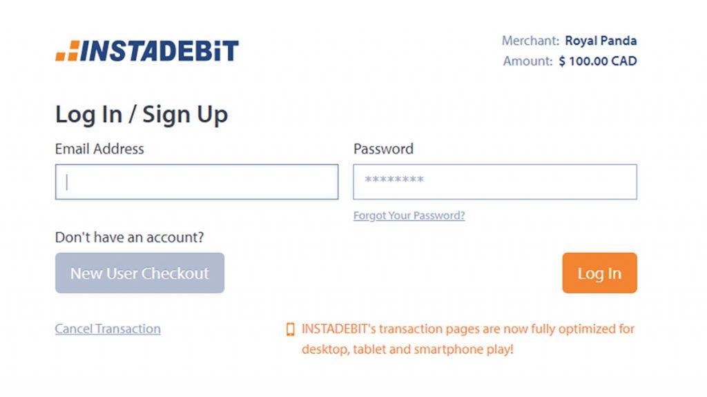 Instadebit casino deposit login screen