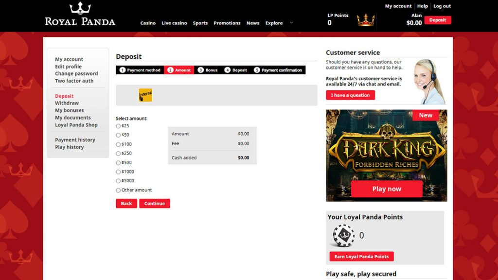 Royal Panda Casino e-Transfer Deposit screen amount