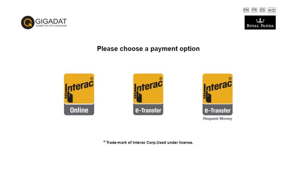 Interac Online casino deposit choice screen