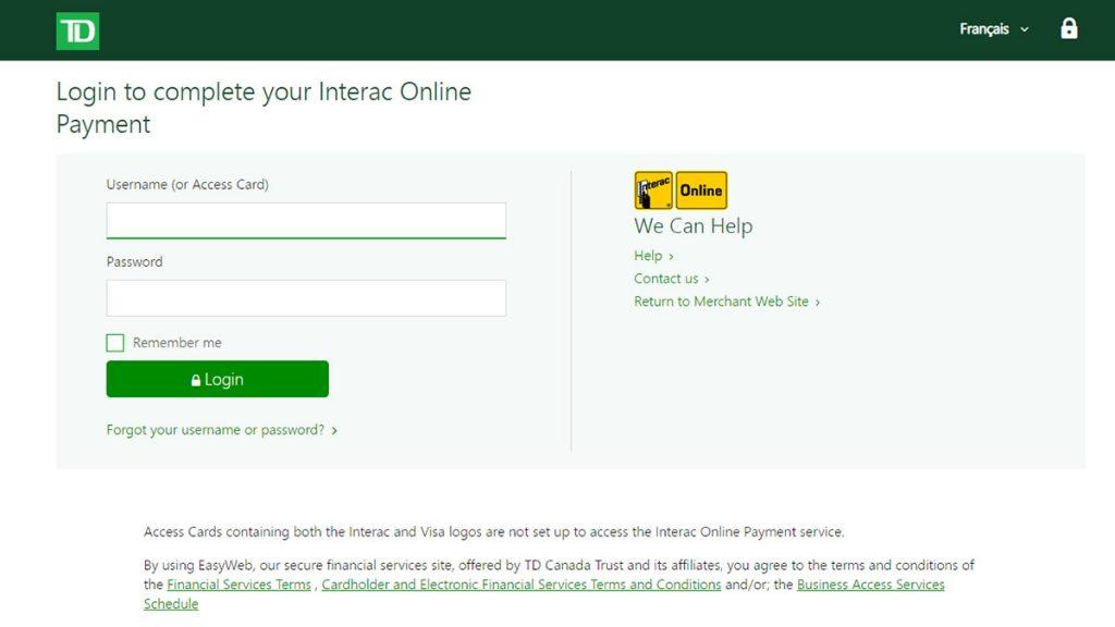 TD Canada Trust Interac Online banking screen
