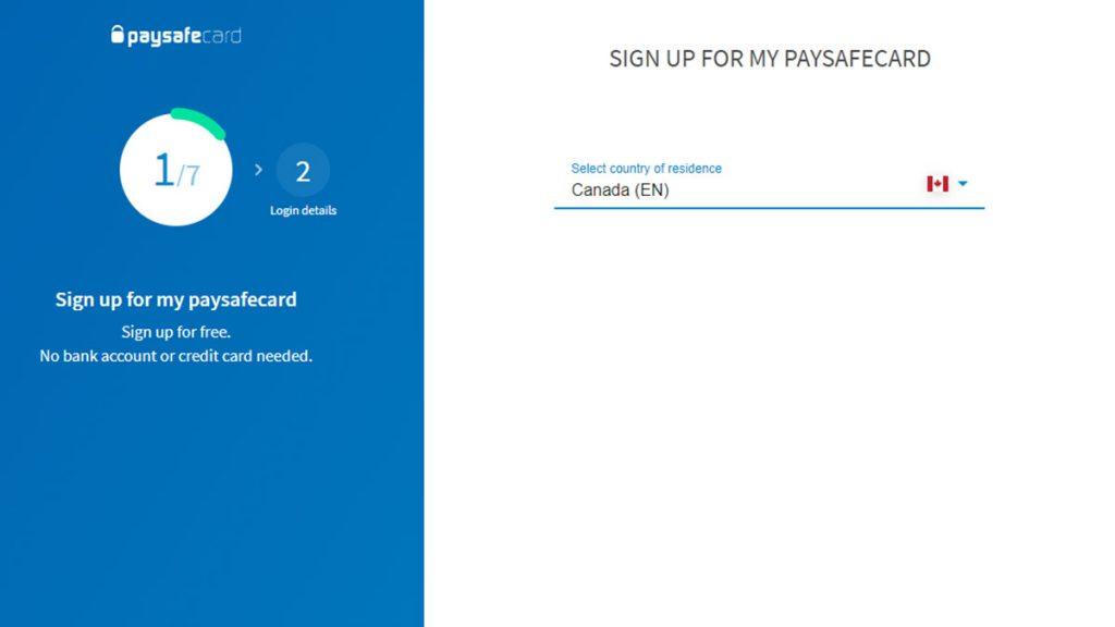 Paysafe sign up screen