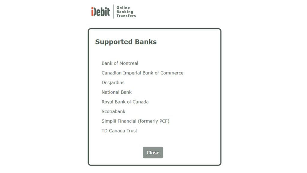 iDebit casino deposits supported banks